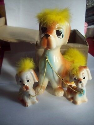 Vintage Ceramic Dog with Babies on Chains YELLOW Hair Made in Japan Puppies