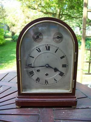 WONDERFUL ANTIQUE GUSTAV BECKER MAHOGANY WESTMINSTER CHIME MANTLE CLOCK c1900