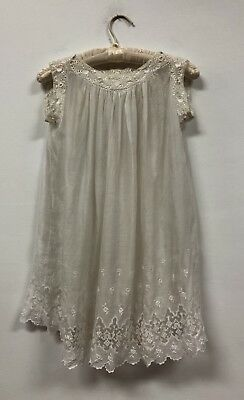 BEAUTIFUL Early Victorian Edwardian Childs White Cotton Lace Gown, Christening?