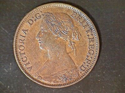 1860 Great Britain Farthing, Victoria Mule Toothed Obv, Beaded Rev. High Grade