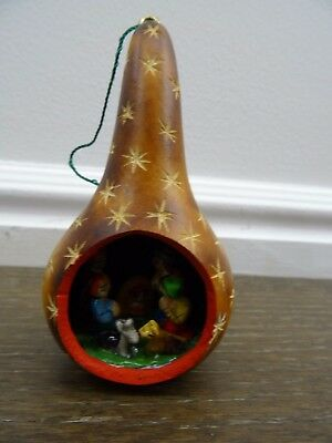 Vintage Carved Gourd Christmas Nativity Scene Diorama Folk Art Miniature