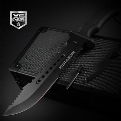 """Tactical BLACK Hunting BOWIE Survival FIRE STARTER Fixed Blade Combat Knife 12"""""""
