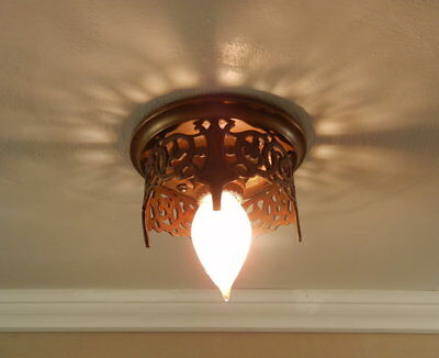 Early American Arts Crafts Mission Cast Bronze Flush Mount Ceiling Light Fixture