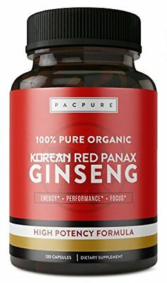 1500mg Organic Korean Red Panax Ginseng 100% Pure High Potency Formulation with