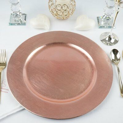 """24 pcs 13"""" Rose Gold Round Charger Plate Dinner Chargers for Tabletop Decor"""