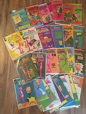 PINK PANTHER and THE INSPECTOR Comic Lot of 27 Vintage Gold Key Whitman Comics