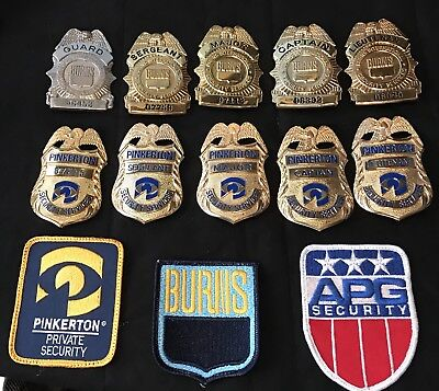 Lot of PINKERTON/BURNS SECURITY BADGES Patches EXCELLENT CONDITION!