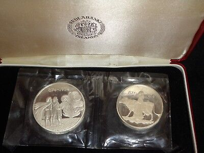 1974 ICELAND 2 COIN .925 SILVER PROOF SET 110TH COMMEMORATIVE COINAGE w/ CASE