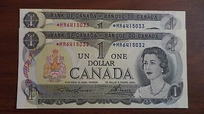 1973 1$ dollar bill canada replacement note 2 consecutive G'UNC *M/R6415032-33