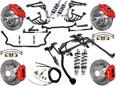 """Ridetech Coilover,4-Link System & Wilwood Disc Brake Kit,13/12"""" Rotors,red,70-81"""