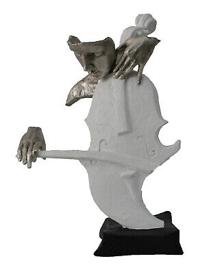 Cold Cast Hand Made detailed Male Cello Player Silver and White Statue Figurine