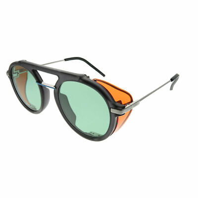 87877880a21 Fendi Men Fendi Fantastic FF M0012 KB7 Grey Plastic Round Sunglasses Green  Lens