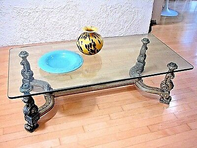 "Vintage 72"" x 30"" glass top coffee table carved base ""Gold leaf"""