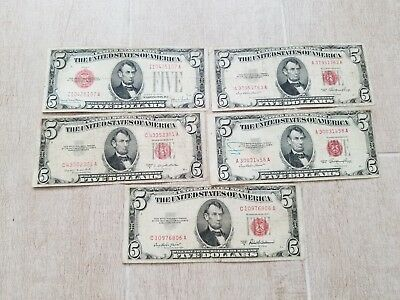 5- 5 dollar red seal notes 4 from 1953 and 1 from 1928