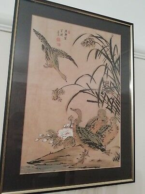Antique Chinese Rice Paper Watercolour Painting showing geese signed / seals