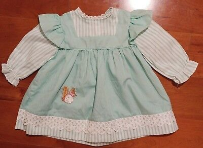 Vintage Kate Greenaway Minty Green and White Stripes Stitched Squirrel Dress 2T
