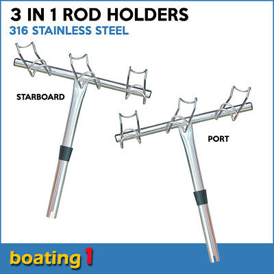 Rod Holder - 3 in 1 Fishing dual ring 3 way Stainless Steel Port & Starboard