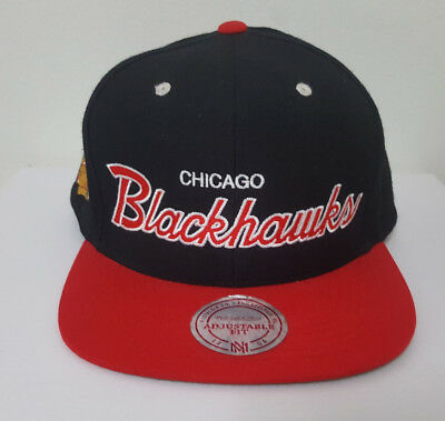 Chicago Blackhawks Mitchell & Ness Men Snapback Hat Red and Black Cap