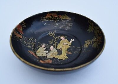 Japanese Lacquer Wood Bowl Asian Vintage Hand-Painted Gold Hand Craft Japan