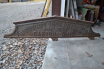 "Victorian era Antique Cast Iron WROUGHT IRON BRIDGE CO.Canton Ohio Sign 65""X15"""