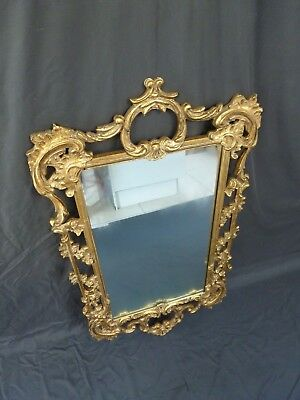 Large Gold French Rococo Baroque Antique Style Wooden Carved Mirror