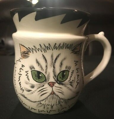 2001 Persian Kitty Cat Green Eyes Ceramic Coffee Mug Tea Cup by Nina Lyman
