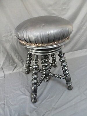 Antique French Bobbin Ebonised Leather Adjustable Piano Stool