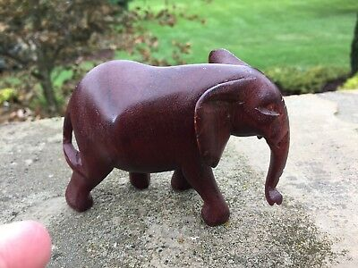 Beautiful Carved Wood African Elephant Figurine Tanzania Africa