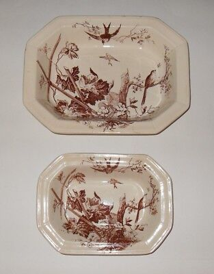 Antique Original Brown Transferware China Bowl Set 2 Henry Alcock & Co 1861-80
