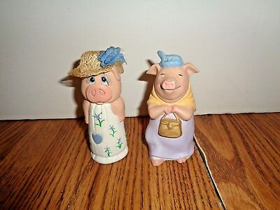 2 Whimsical Pigs Figurine HAND PAINTED