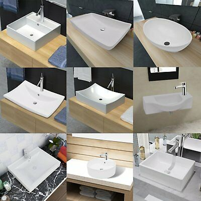 White Porcelain Ceramic Vessel Bathroom Sink Basin with/without Overflow