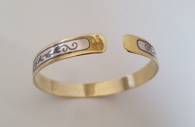 Russian Niello Silver and Gold Gilt Bangle russian hallmarks