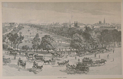 Hyde Park, Sydney, c.1886, by Julian R. Ashton and engraved by H. Miller.