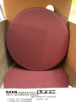 "Box of 50- 500 Grit 6"" PSA sticky wet dry sandpaper sanding disc KEEN #36253"