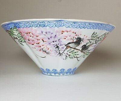 "Vintage Chinese Eggshell Porcelain 7"" Bowl Hand Painted Birds"