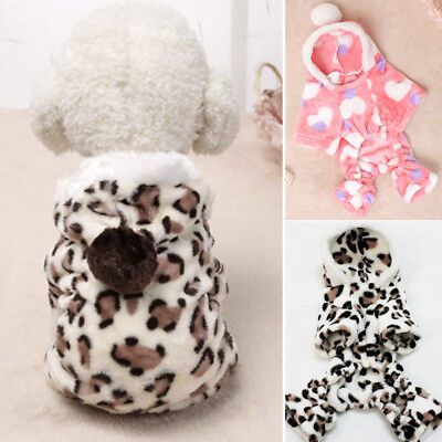 Winter Warm Pet Small Dog Cat Puppy Clothes Hooded Jumpsuit Pajamas Outwear