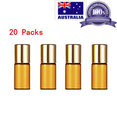 20x Amber Glass Roller Bottle Roll on Ball Rollerball Perfume Essential Oil 3ML