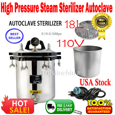 18L Autoclave Sterilizer Stainless Steel Steam Medical sterilization 110V in US