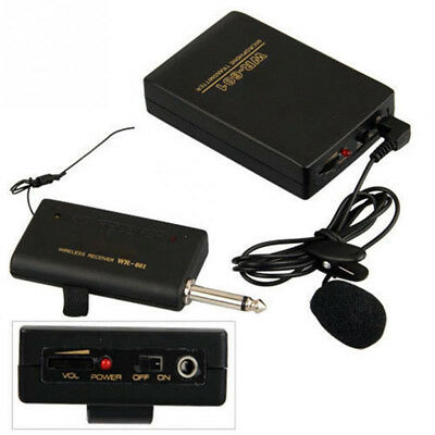 Wireless Microphone Clip Mic System FM Transmitter Receiver Lavalier Lapel