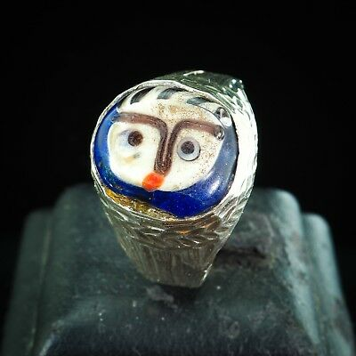 Vintage Islamic Glass innocent Baby Face Bead sterling silver Amulet Ring