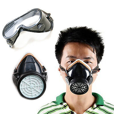 Anti-Dust Single Cartridge Safety Respirator Mask Protective Face Mask & Googles