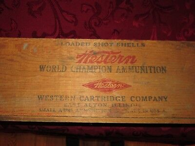 "Old wooden box ""Western World Champion Ammunition"" 14x8x7 3/4"""