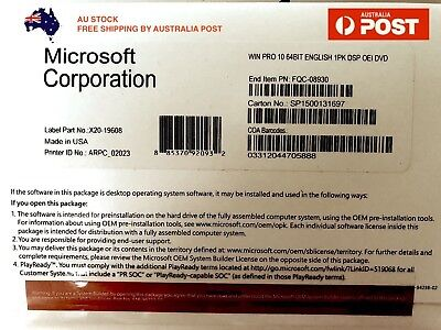 Microsoft Windows 10 PRO 64-Bit OEM DVD + Product Key Full Version For 1 PC
