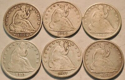 Lot of (6) Seated Liberty Half Dollars 1854 1858 1859 O 1876 1877 Silver 50C