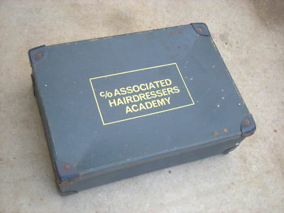 Vintage ASSOCIATED HAIRDRESSERS ACADEMY Blue SUITCASE, 1960's...