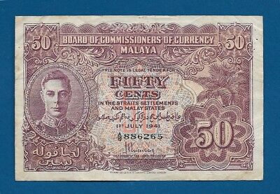 Malaya British Ad 50 Cents 1941 P-10a WW2 Straits Settlements & Malay Arms Back
