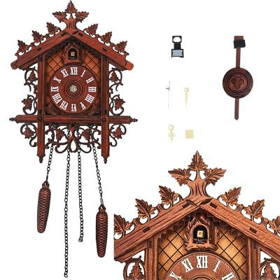 UK Vintage Cuckoo Clock Forest Quartz Swing Wood Wall Clock Handmade Room Decor