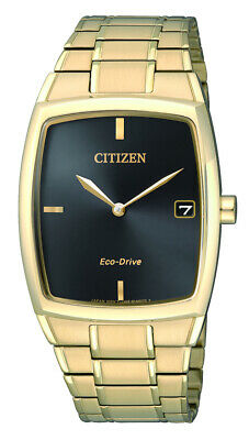 NEW Citizen Mens Gold Stainless Steel Eco-Drive Date Watch - AU1072-87E