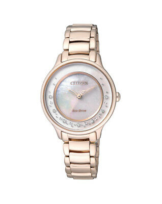 NEW Citizen Ladies Stainless Steel Eco-Drive Diamond Dress Watch - EM0382-51D