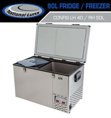 National Luna 90lt Fridge Dual Thermostat Stainless Steel Freezer Camping Offroa
